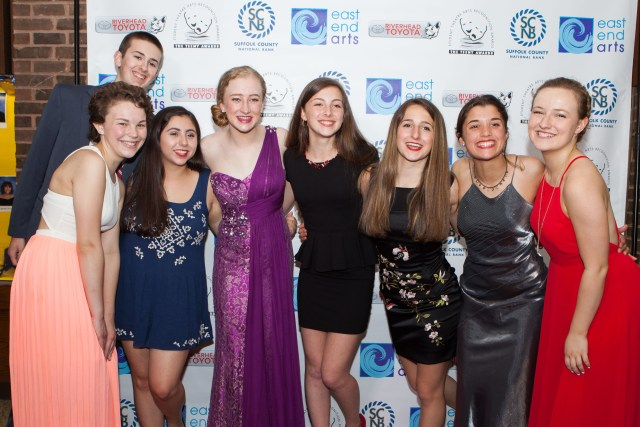 Southold High School students pose on the red carpet at the Teeny Awards Sunday. (Credit: Katharine Schroeder)