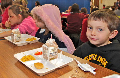 THE SUFFOLK TIMES FILE PHOTO | Greenport students having lunch in 2010. The USDA released Friday a plan to promote healthy eating in schools.
