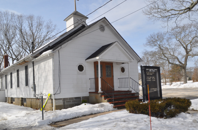 A crosswalk will soon connect Unity Baptist Church in Mattituck to the shopping center across the street. (Credit: Grant Parpan)