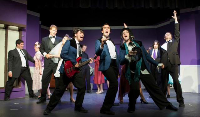 """The North Fork Community Theatre in Mattituck rehearses this summer's Youth on Stage musical, """"The Wedding Singer"""" in July.  (Credit: Katharine Schroeder)"""