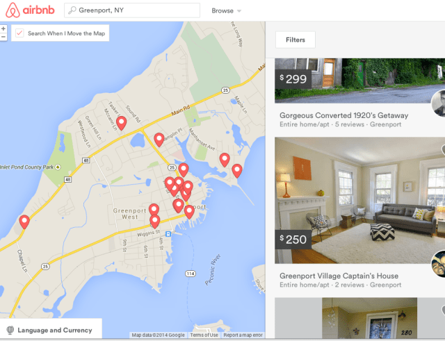 Greenport vacation homes currently listed on airbnb.com.