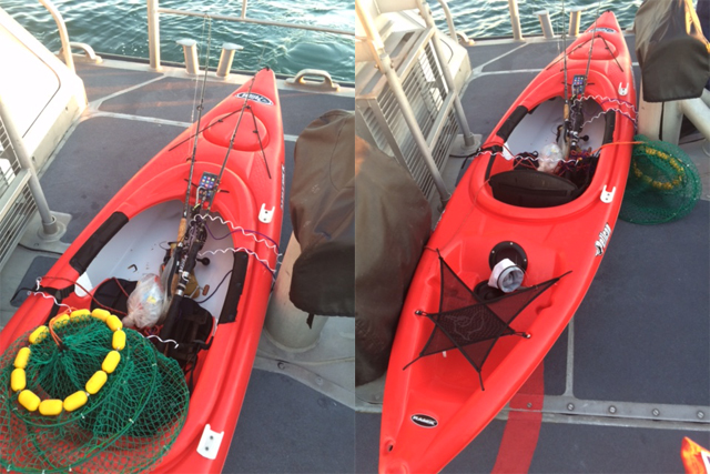 This kayak was found overturned and floating near Plum Island. (Credit: U.S. Coast Guard, courtesy)