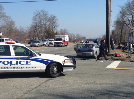 Emergency crews on the scene of a 10:30 a.m. crash in Mattituck Thursday. (Credit: Paul Squire)