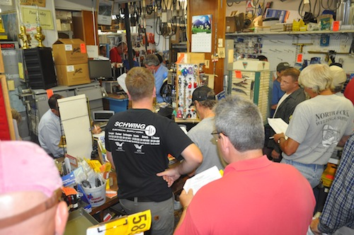 An auction of all White's Hardware products brought out many bidders. (Cyndi Murray photo)