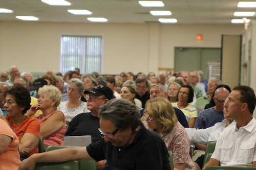 More than 200 North Fork residents upset by helicopter noise over their homes turned out last Monday night for a forum in Southold. (Credit: Jennifer Gustavson)