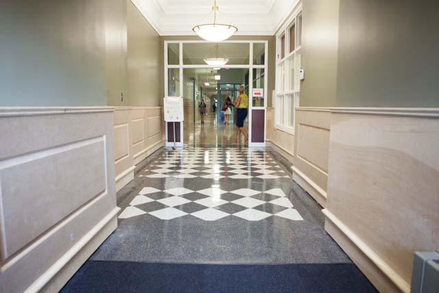 The school's new entryway.