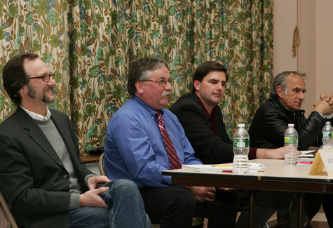 KATHARINE SCHROEDER PHOTO | Greenport Mayor David Nyce, who is running unopposed for mayor, incumbent trustee George Hubbard Jr, Historic Preservation Commission Chairman David Murray and former trustee Bill Swiskey, who are running for two seats on the Village Board.