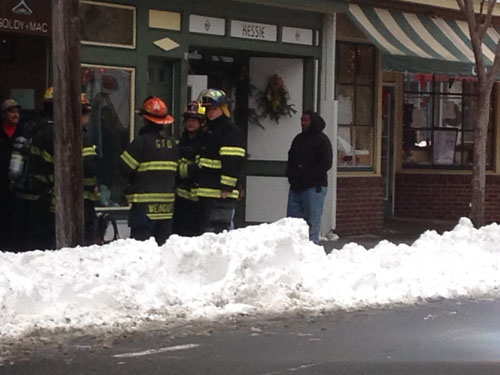 CYNDI MURRAY PHOTO | Greenport Fire Department volunteers were on scene for a gas leak early Sunday afternoon.