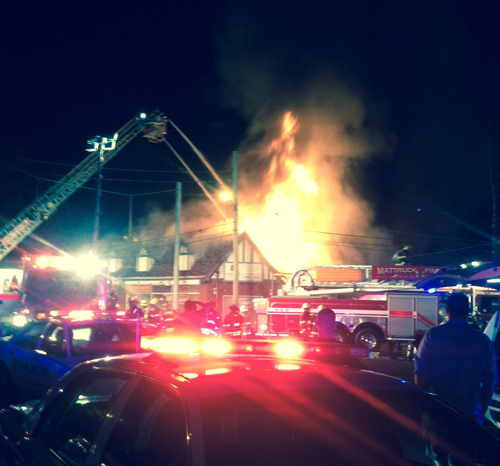A view of the scene last night in Mattituck. (Credit: Bobby Haas)