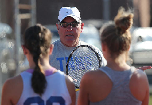 Longtime Mattituck boys tennis coach Mike Huey took over the girls program this fall. He was recently honored as the state coach of the year for boys tennis. (Credit: Garret Meade, file)