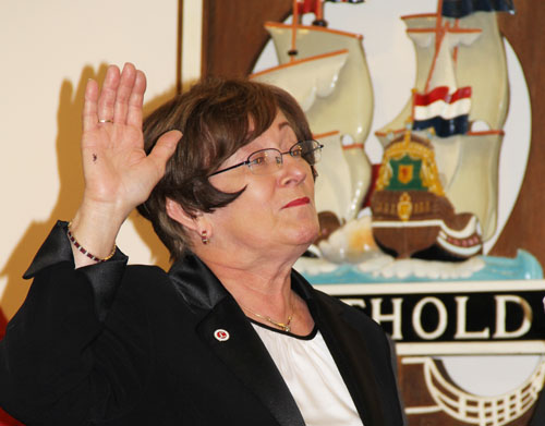 CARRIE MILLER PHOTO | Town Clerk Betty Neville being sworn in to a fifth four-year term Thursday morning in Town Hall.