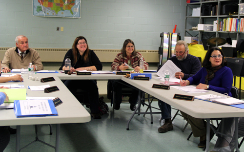 CARRIE MILLER PHOTO | The Oysterponds school board listens to a presentation about a new project that is now part of the school's enrichment  program Tuesday night.