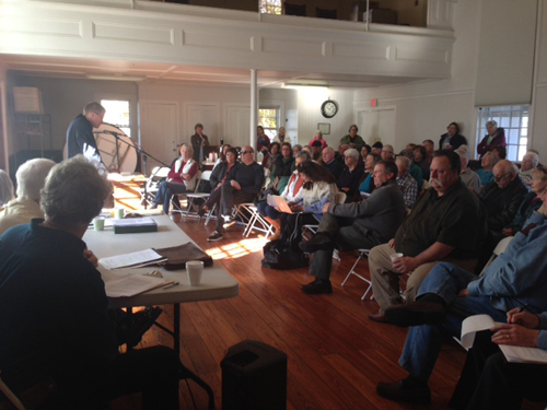 PAUL SQUIRE PHOTO | Southold Supervisor Scott Russell addresses the crowd at Saturday's deer management meeting in Orient.