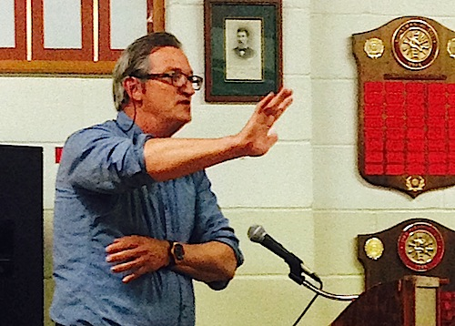 Widows Hole Oyster Company owner Mike Osinski pleads with the board to let his application more forward. (Cyndi Murray photo)