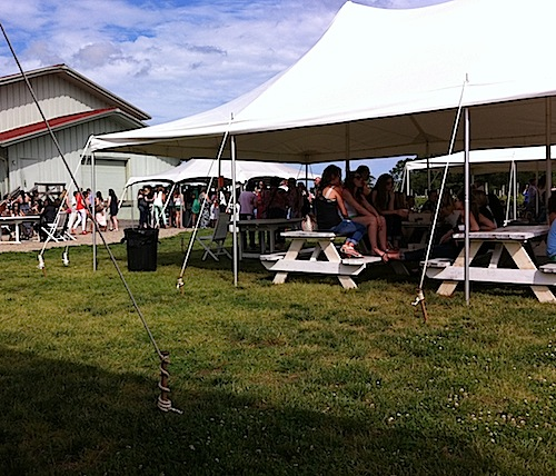 CARRIE MILLER FILE PHOTO | Vineyard 48 erected outdoor tents violating town policy, according to Southold Town attorney Martin Finnegan.