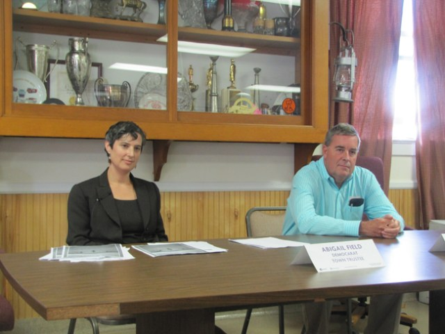 The candidates for a Southold Town Trustee seat, Abigail Field and David Bergen, at Saturday's debate. (Credit: Tim Gannon)