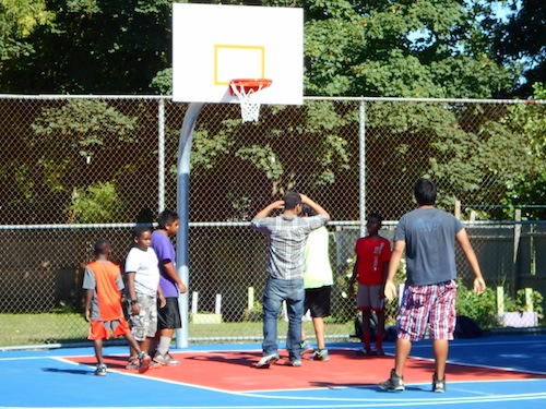 The Third Street basketball court was resurfaced in August. (Cyndi Murray file photo)