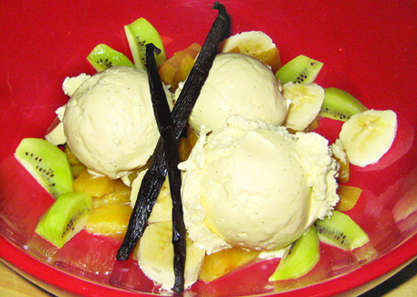 Ice cream made with Tahitian vanilla beans.