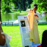 Ayanna Polk unveils Ida B. Wells museum display panel at Suffrage100MA's 2021 Women's Equality Day event