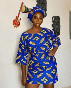 ankara short wrapper and blouse style with head tie