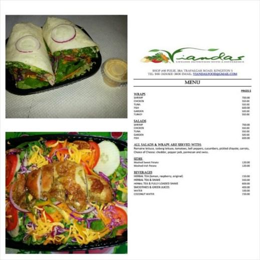 Top left: Turkey wrap Below left: Escoveitch Fish wrap Right : Menu