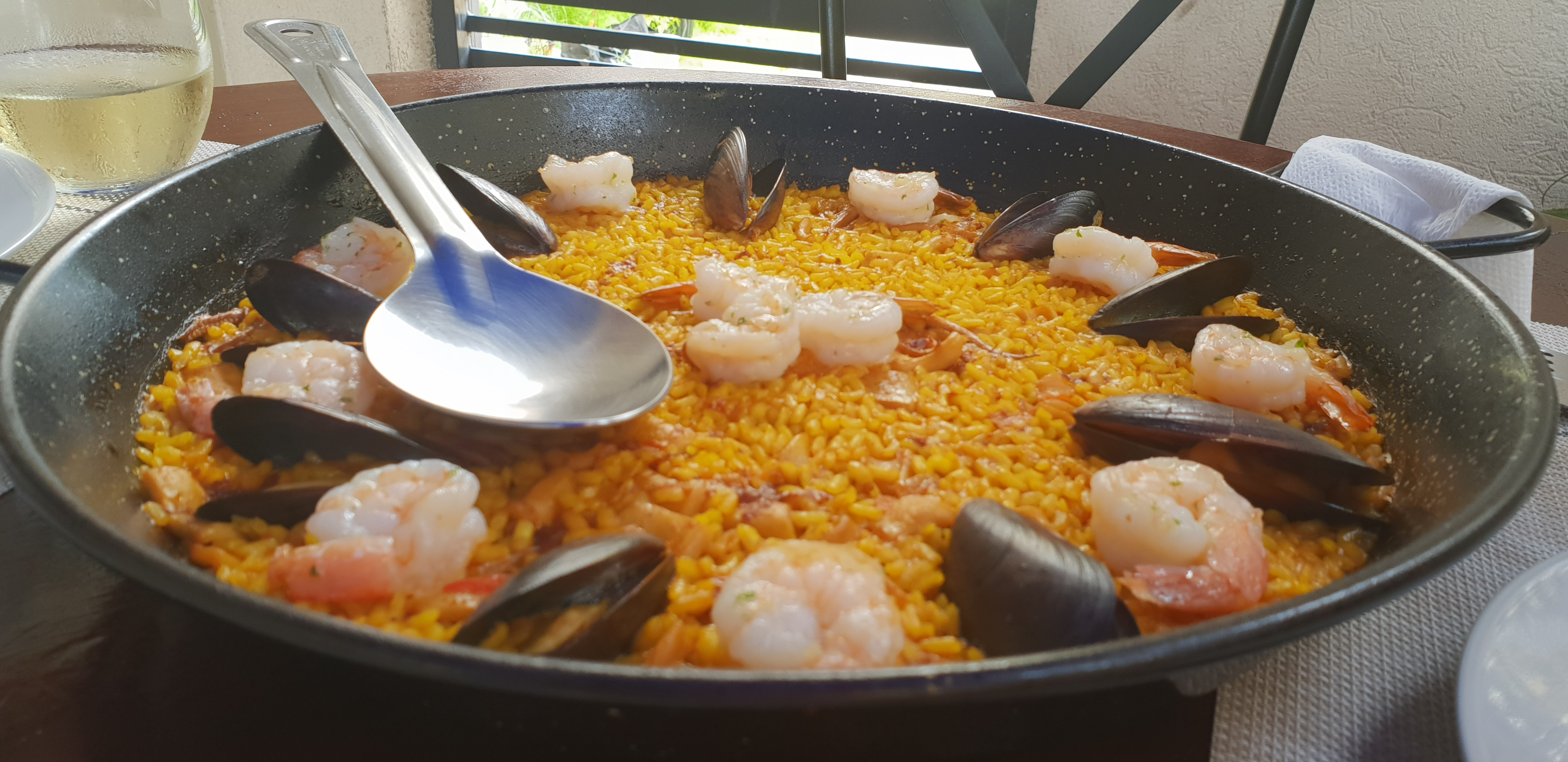 Seafood Paella ($2950JMD) with King Prawns, Squid, Mussels and Rice.