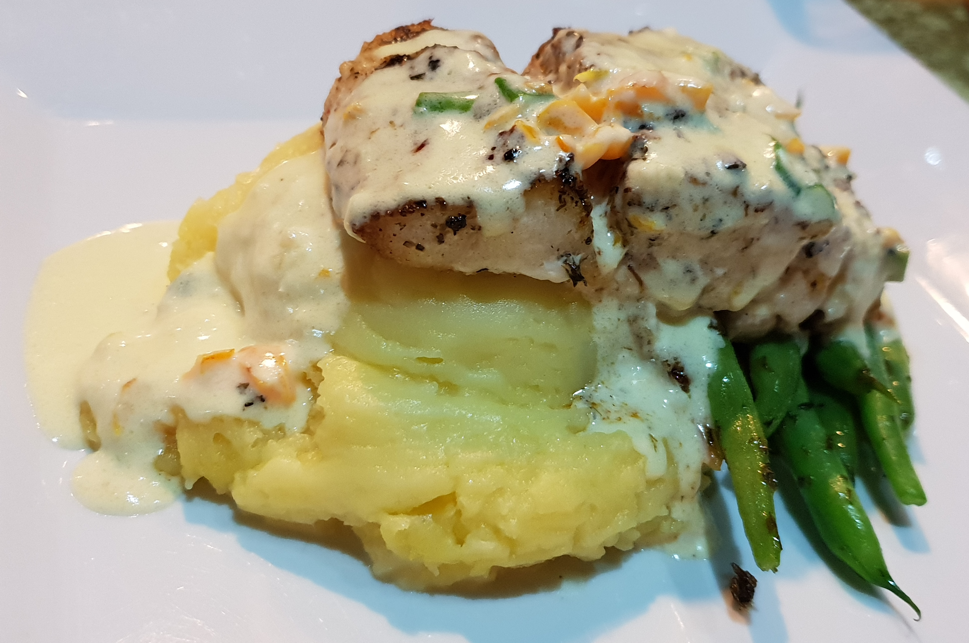 Snapper Fillet served with mashed potatoes.
