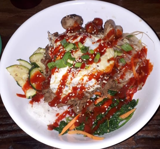 Original Bop ($10USD) - Beef, sesame, spinach, mushrooms, mung beans, marinated zucchini