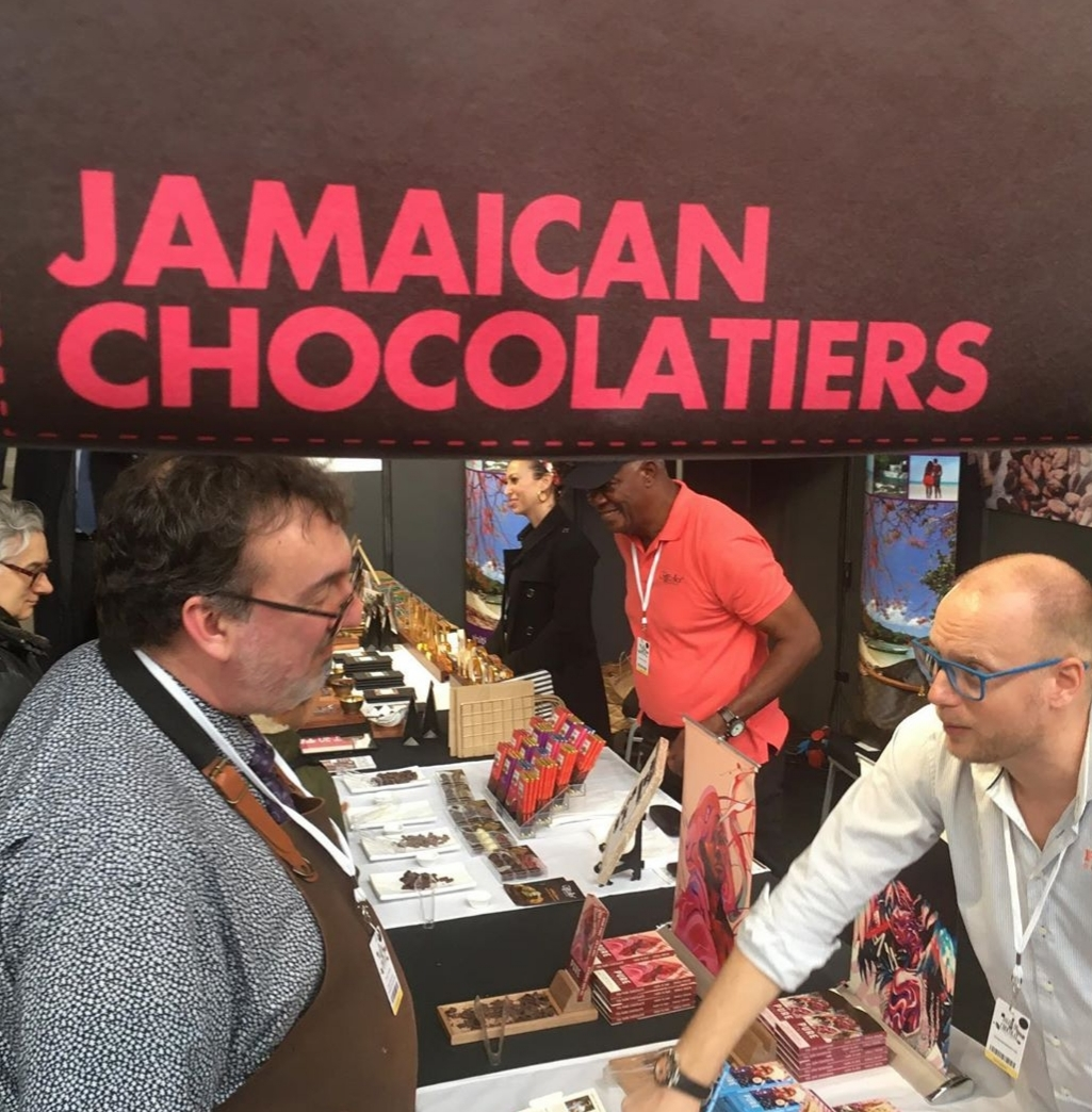 Wouter Tjeerte of Pure Chocolate Company shows off Jamaica'ss Bean to Bar Chocolate at Salon du Chocolat in Brussels, Belgium last weekend.