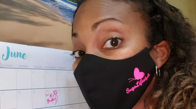 Suga is Ready for JUNE with her Branded Mask from Topp In Designz!