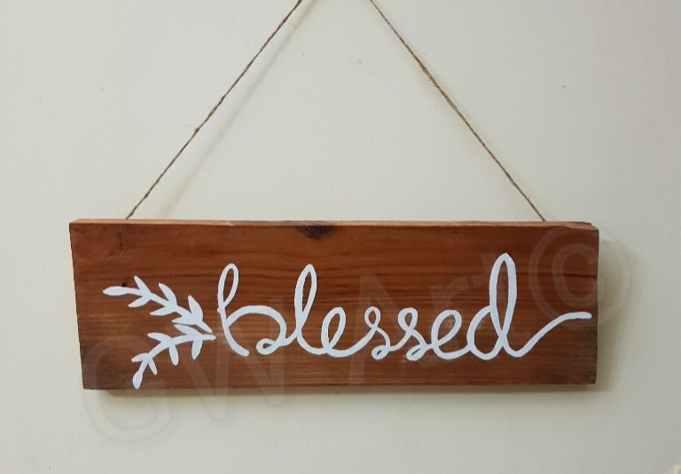 "'BLESSED' (14×5)"" Wooden decorative piece"