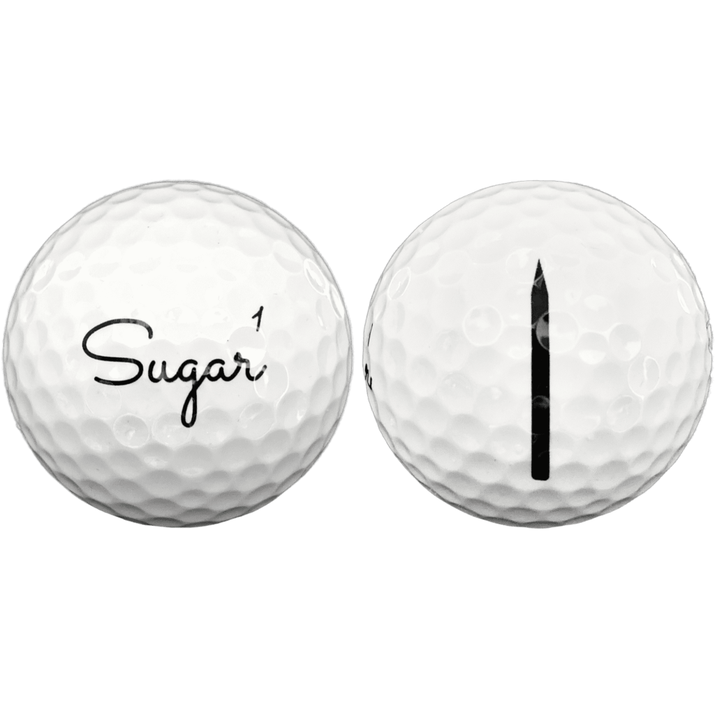 front and side view of sugar golf ball