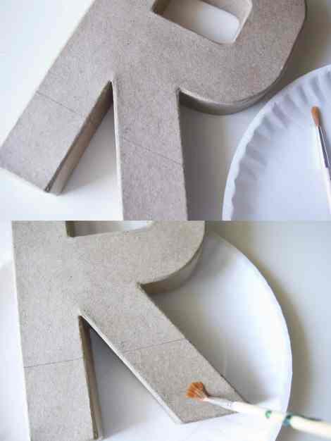 step 2 for DIY glittered monogram wreath