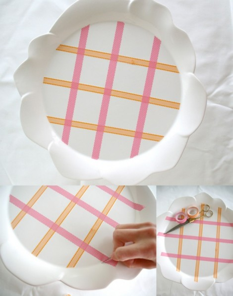 DIY cake plate pattern with washi tape