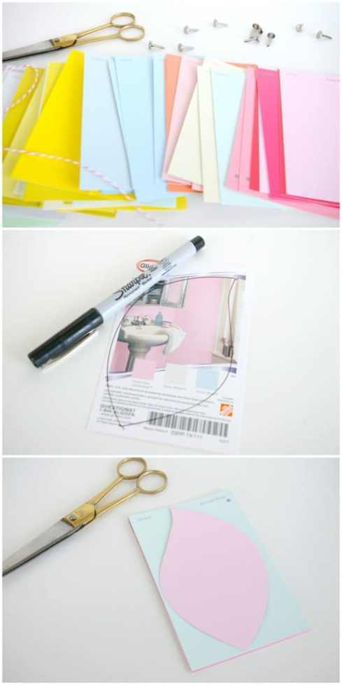 how to make paint chip flowers