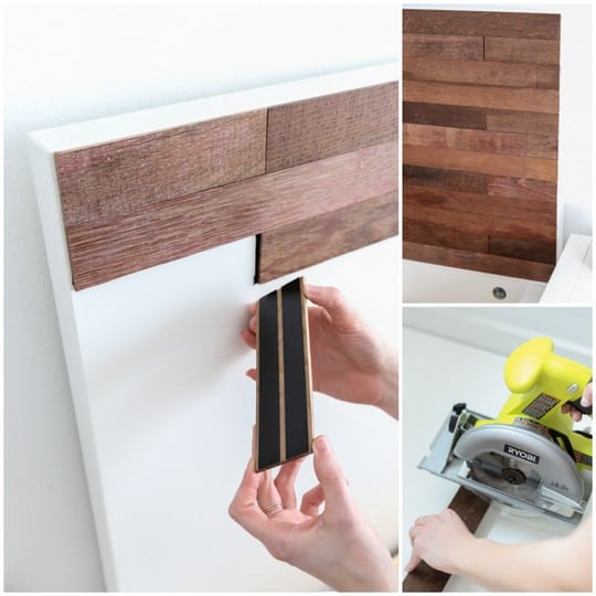 Diy ikea hack stikwood headboard for Papel adhesivo para muebles ikea