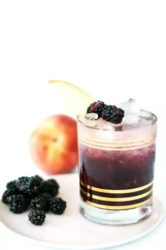 Peach and Blackberry Bramble Cocktail Recipe - Sugar and Cloth