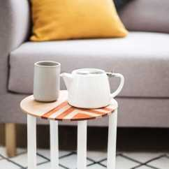 Diy Living Room Side Tables Paint Colors With Brown Couch Mini Patterned Table Sugar Cloth