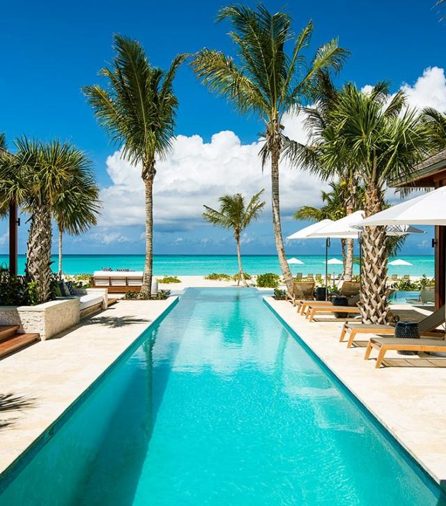 beach front turks and caicos modern house rental