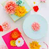 The perfect Mother's Day gift wrapping: DIY faux flower gift topper stickers by Sugar & Cloth - houston blogger