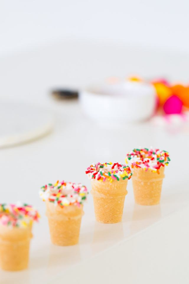 How to make mini ice cream cone shot glasses for a cute cocktail serving idea! - sugar and cloth - ashley rose - houston blogger