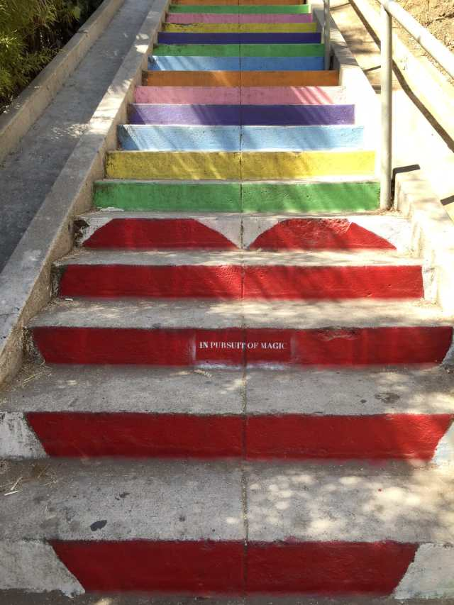 sugar and cloth behind the scenes lately, and we need a wedding hashtag - silverlake stairs in LA for filming!
