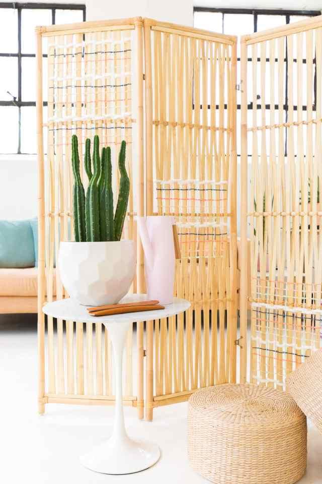diy ikea hack woven room divider sugar cloth diy. Black Bedroom Furniture Sets. Home Design Ideas