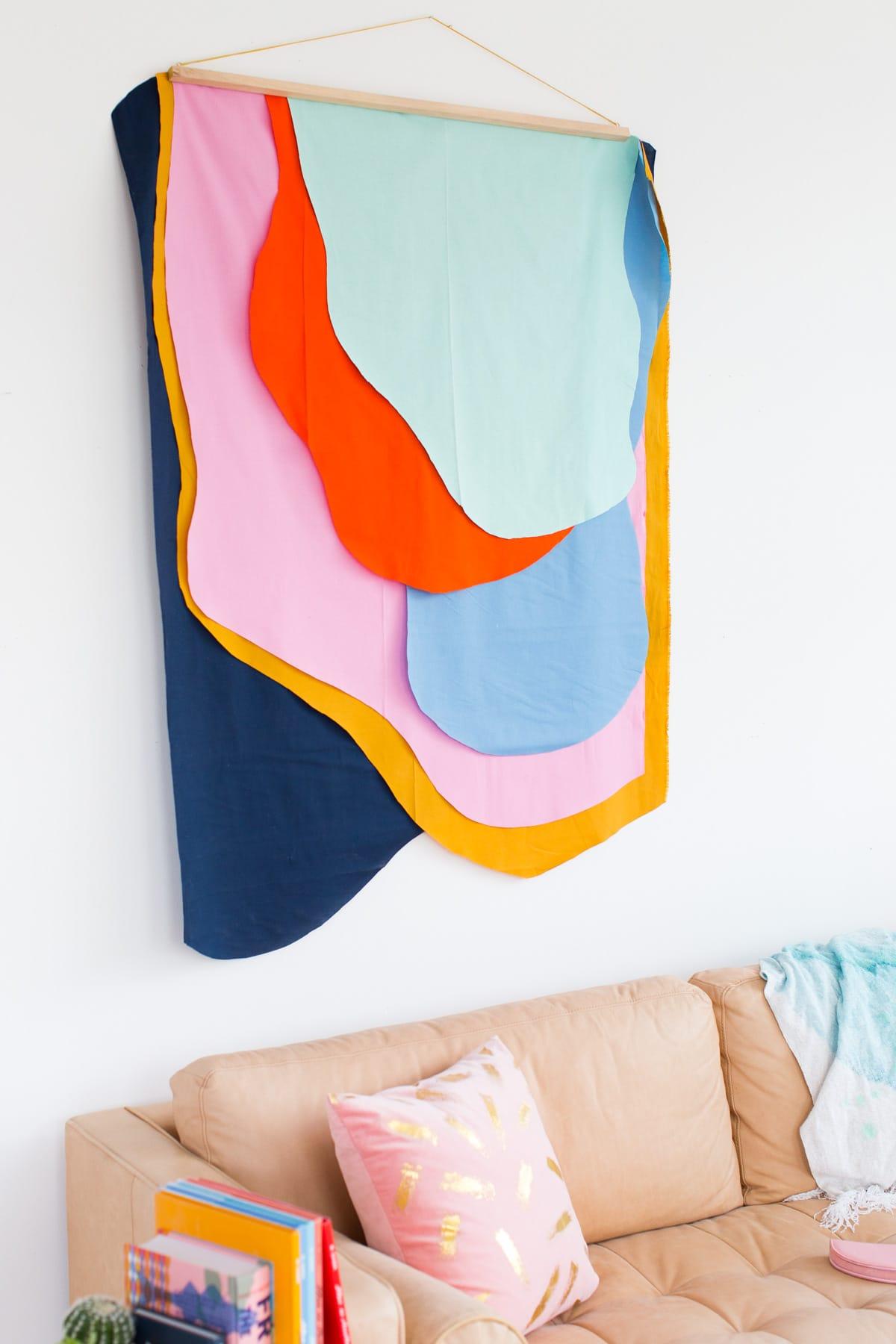 colorful diy fabric wall