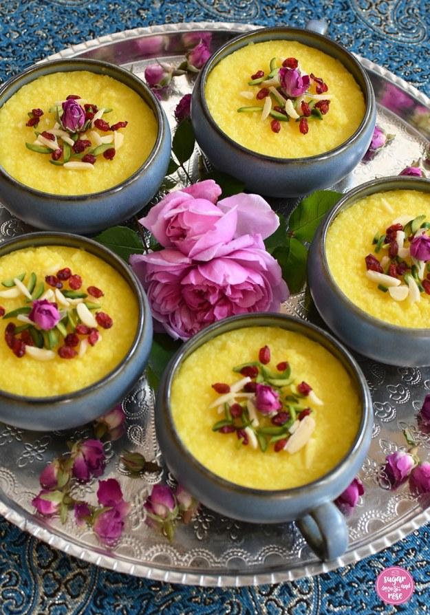 Safran-Reispudding mit Rosenwasser und Berberitzen – Shole Zard