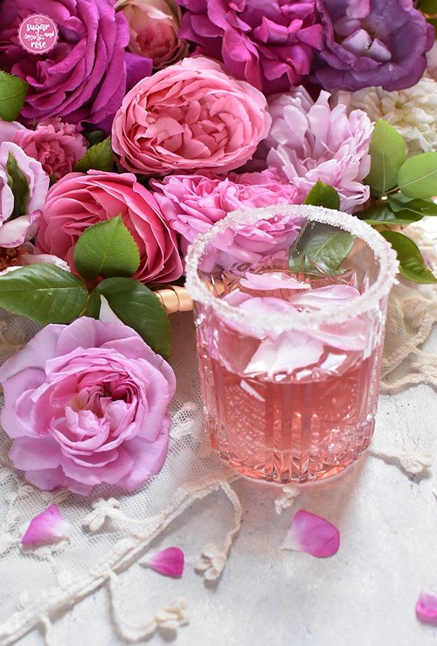 Ein geschliffenes Bleikristallglas mit Zuckerrand, gefüllt mit rosa Gin und Rosenblüten, daneben eine rosa Damaszenerrose, dahinter verschiedene rosa Rosenblüten