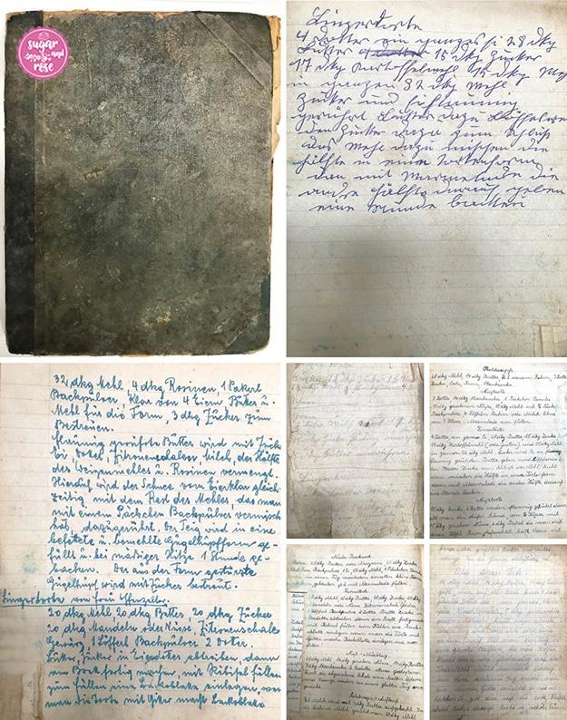 Das alte Rezeptbuch meiner Familie links, grüngrau und der Deckel stark abgenützt, daneben und darunter sechs verschiedene handgeschriebene Linzertortenrezepte, einige in Kurrentschrift