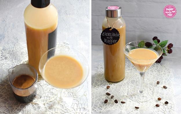 Bildkombi: links Eierlikör in einer Flasche und im Glas, daneben ein Becker mit Kaffeesirup; rechts der fertige Kaffee-Eierlikör in einer Flasche, daneben ein Glas voll