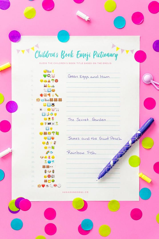 Emoji Pictionary Baby Shower Answers : emoji, pictionary, shower, answers, Emoji, Pictionary, Shower, Printable, Sugar
