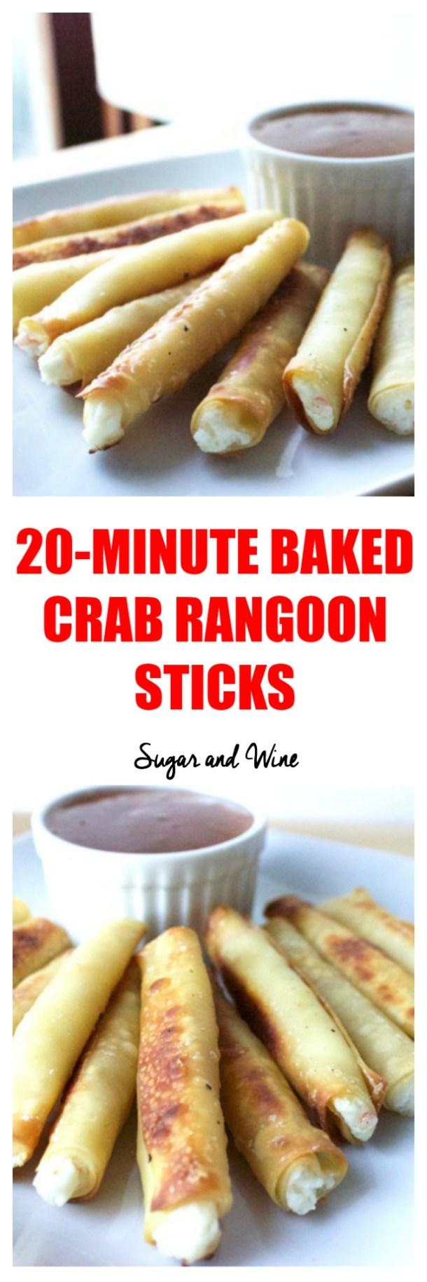 20 Minute Baked Crab Rangoon Sticks   Sugar and Wine